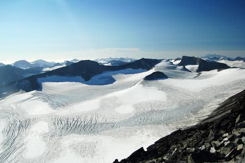View South from Galdhøpiggen across the Svellnosbrean Glacier