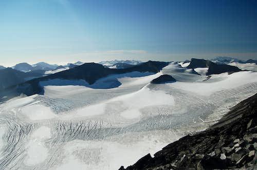 View South from Galdhøpiggen across the Svellnosbrean Glacier