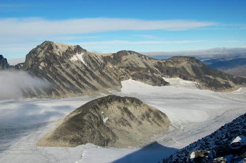 View North towards Galdhøpiggen across the Svellnosbrean Glacier