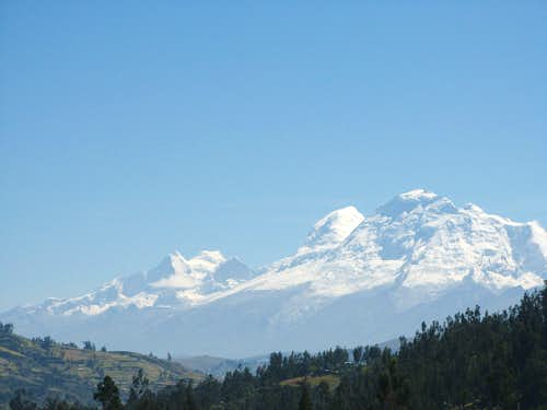 Huascaran and Huandoy as seen from Huaraz about 45 km direct away