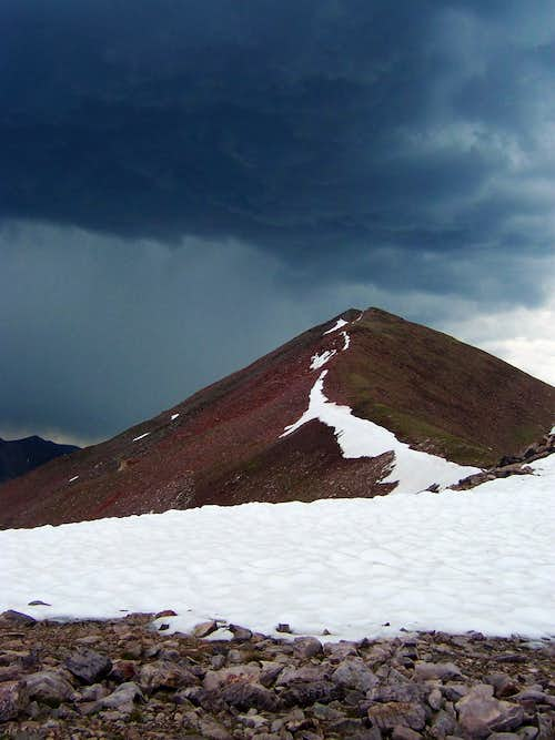 T-storm approaching the summit