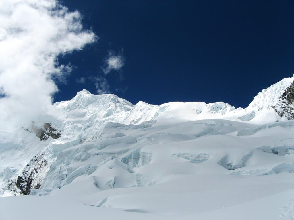 The glacier leading up to the west ridge