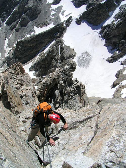 The excellent  V-Pitch  on the Exum ridge of the Grand Teton