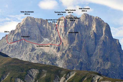 Torrione Cambi - Normal Route seen from South