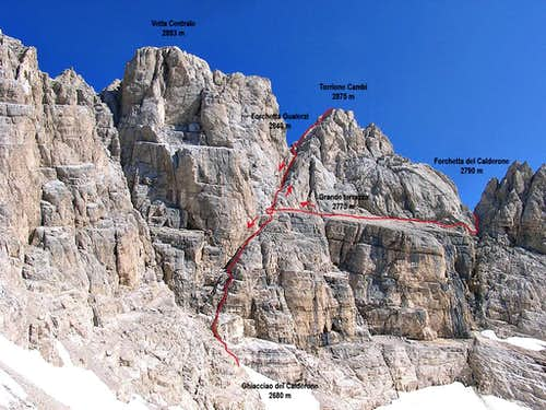 Torrione Cambi - Normal Route from North