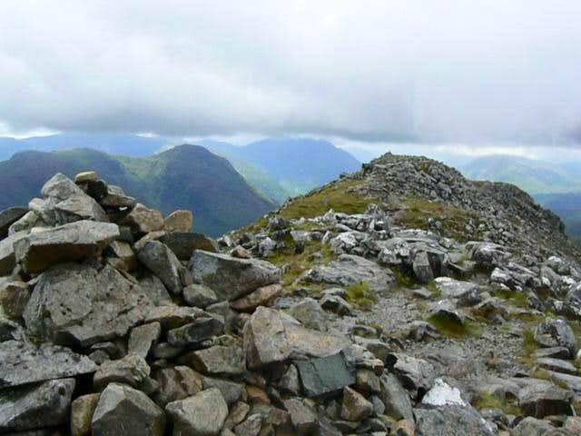 First summit cairn on Stob Dubh