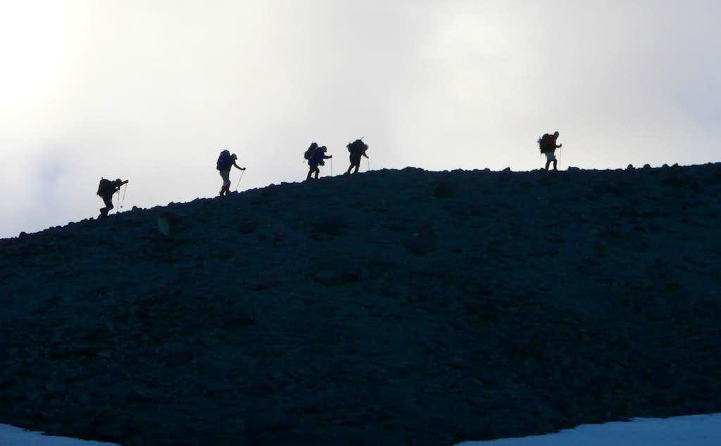 Climbers hiking the...