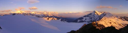 Panoramic view: Sunrise over Grand Combin