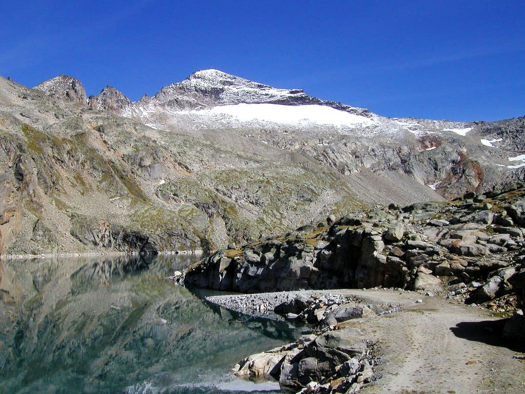 Hocharn (3254m) seen from the Zirmsee