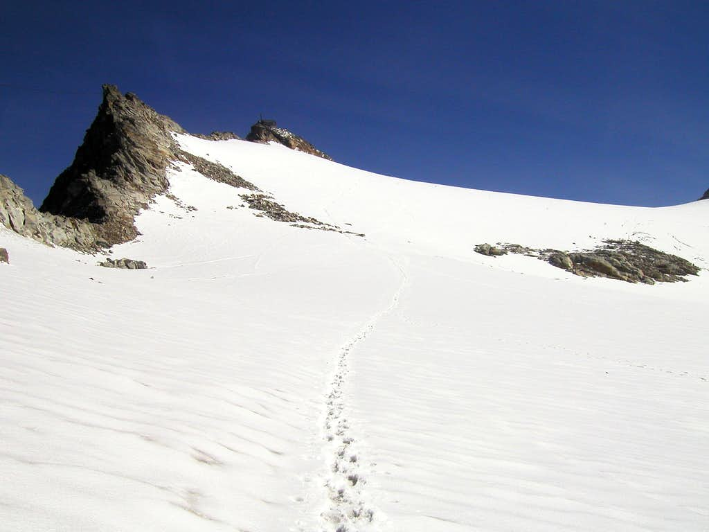 On the Kleinfeisskees (glacier) just below the summit of Hoher Sonnblick