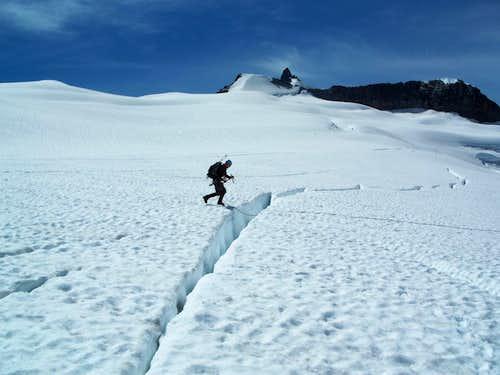 Crevasse Jump on the Neve