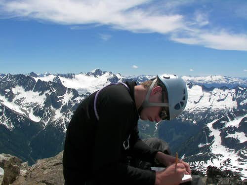 Signing Snowfield Peaks Summit Log