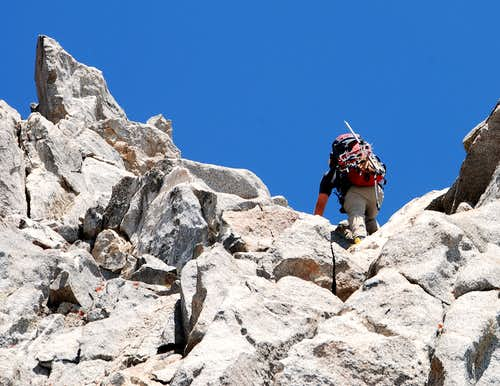 Typical class 2-3 climbing along the East Arete