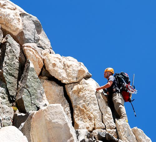 Diggler doing a class 4 variation of the East Arete