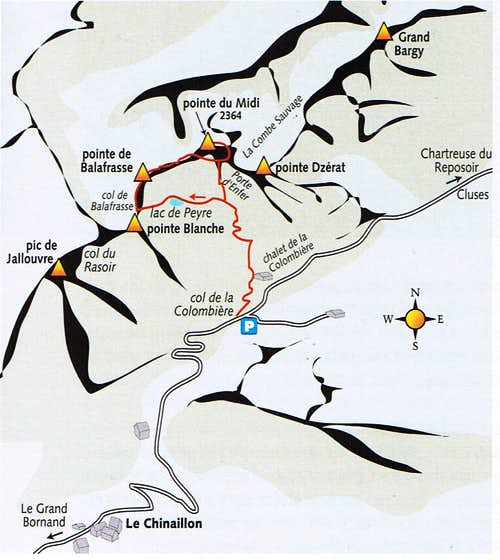 Map of Pointe du Midi (2364m)