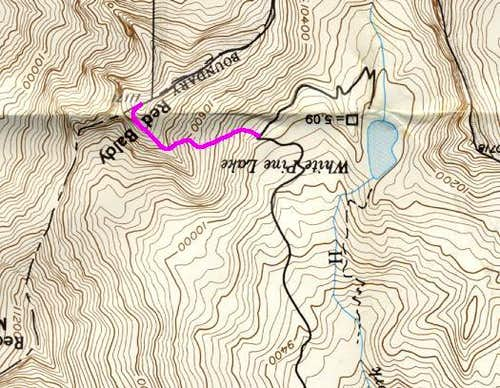 Topo showing route up Red...