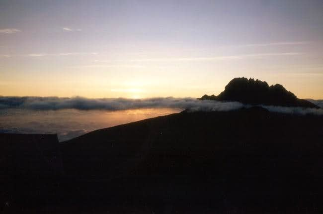 Sunrise behind Mawenzi, as...