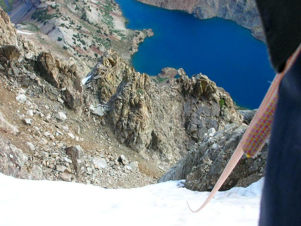 Simul-climbing upper Red Slate