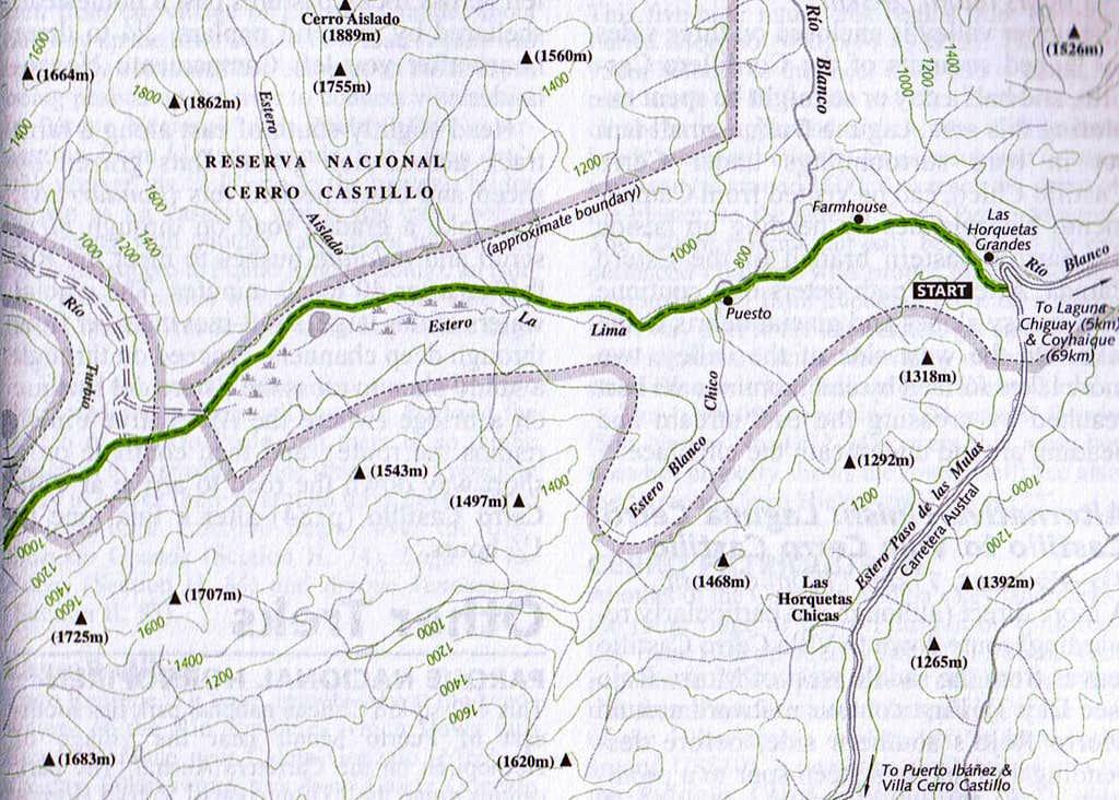 Map of Cordillera Castillo (East Part)
