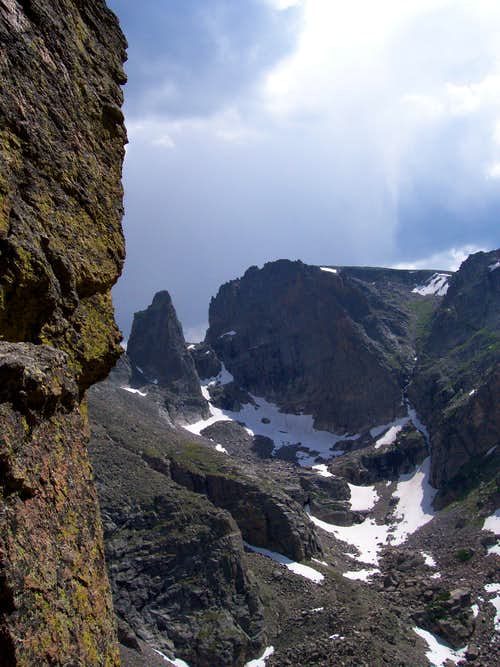 Looking over at Sharcks Tooth from the last belay to the summit