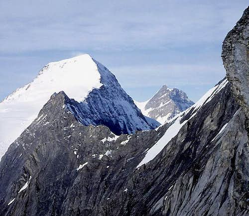 Mönch (L) and Jungfrau (R) from<br>Mittellegi Ridge on the Eiger