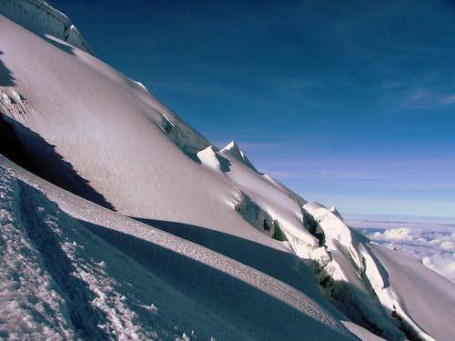 The glacier below the summit.