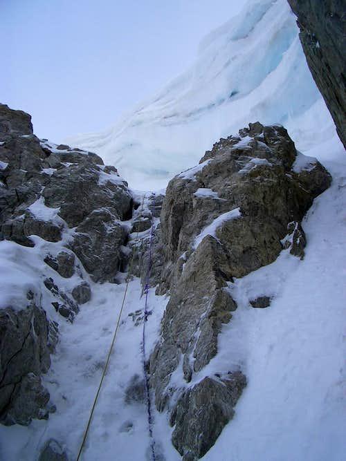 Cornice at Pic Neige Cordier (Alps -Ecrins)