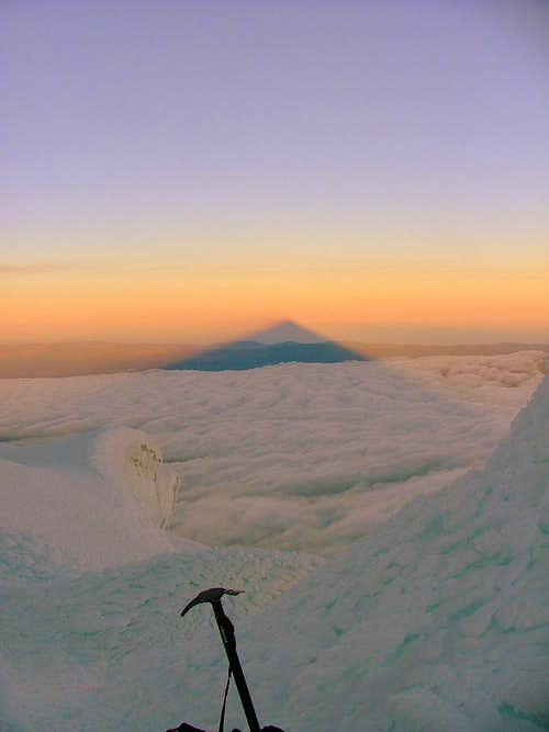Cotopaxi\'s shadow cast.