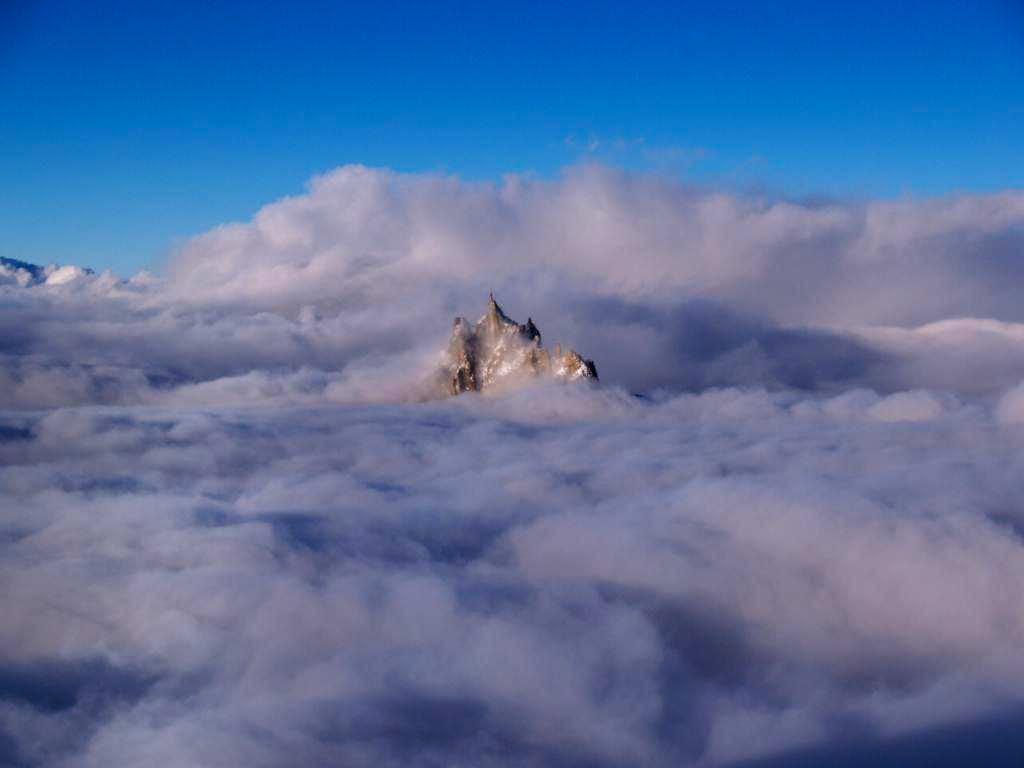 Aiguille du Midi in clouds