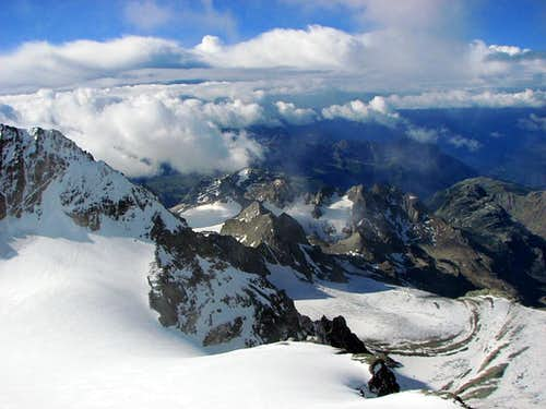 View from bottom of Piz Bernina italian summit (4020m)