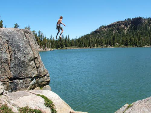 Ian jumping into Round Lake (southwest side) in the Desolation Wilderness