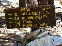 Sign below summit of San Jacinto Pk (Calif.) -NOT FOR VOTING