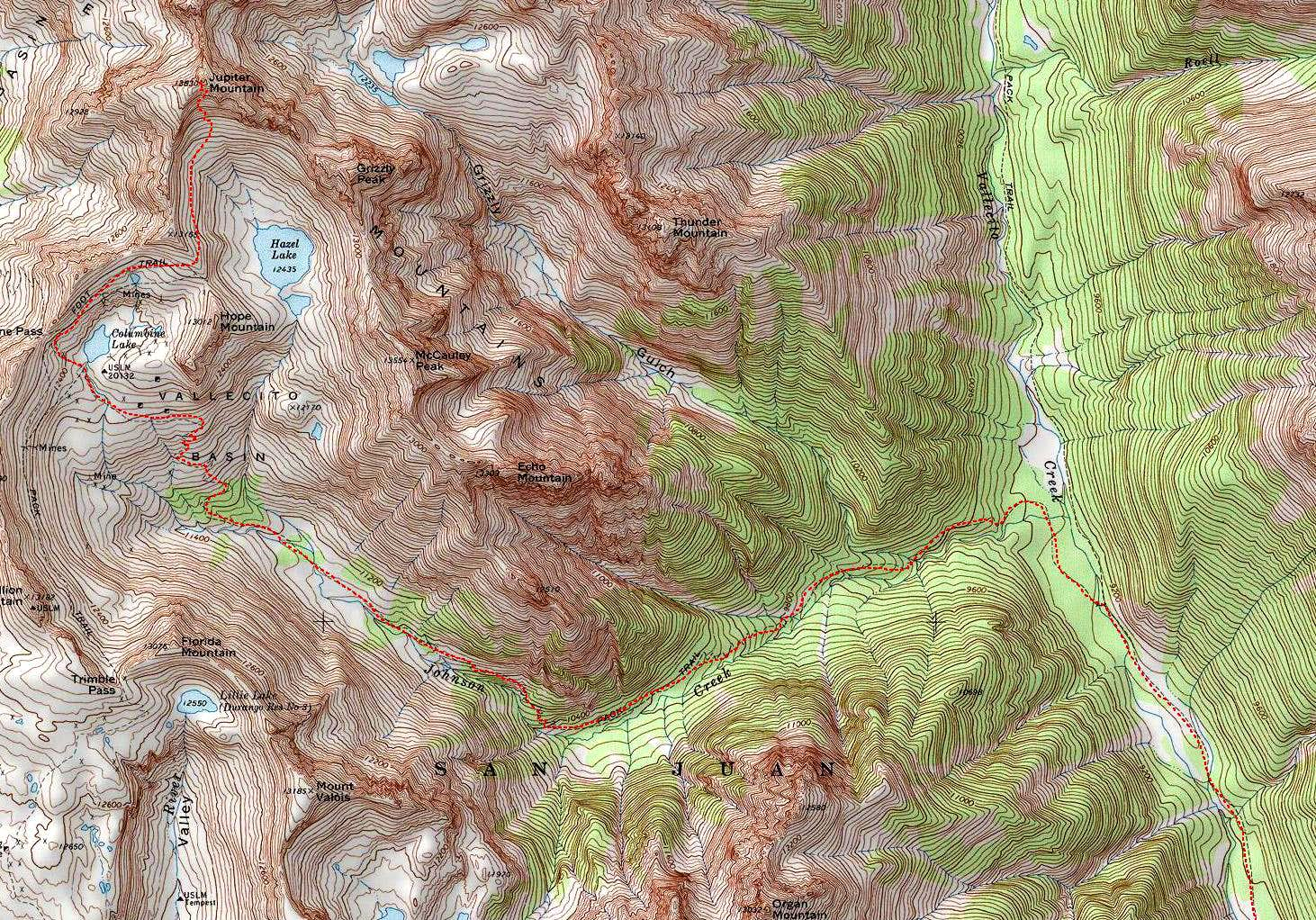 Vallecito Backpacking Route