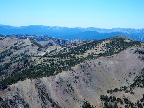 The route from Relay Peak Ridge to Mount Houghton