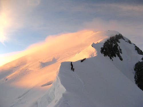 Climbers approaching summit of Mt. Blanc