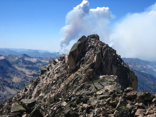 Elk Peak Summit with forest Fire