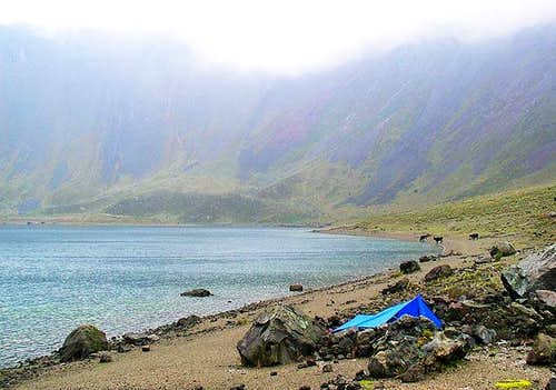 Our campsite in the crater. A...