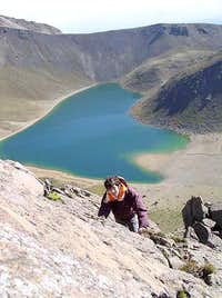Scrambling up to the summit....