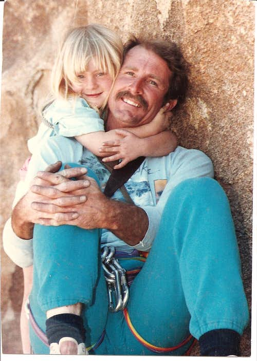 My daughter and me when she was 5 yrs. old climbing at Joshsua Tree State Park Calif.