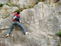 One-armed climbing in Greece