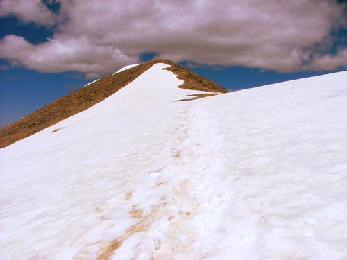 Approaching Mount Democrat`s summit.