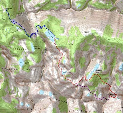 Topo of Entire Route <i>(approach and climb)</i>