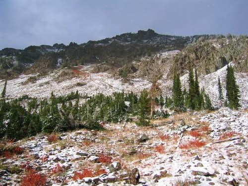 Looking up Krag Peak from its...