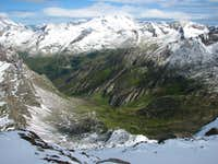 The Windtal valley below Roetspitze/Pizzo Rosso.