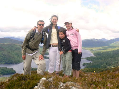 Me, Louise, Chelsea and Lauren on the summit of Ben A\'an