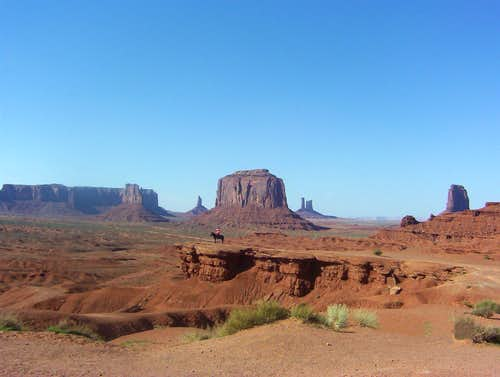 Lonely Rider at Monument Valley