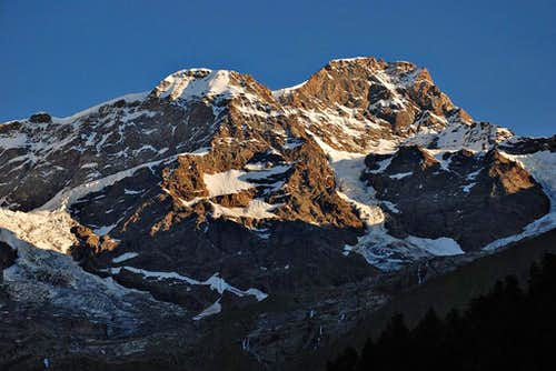 Dawn on Monte Rosa south face
