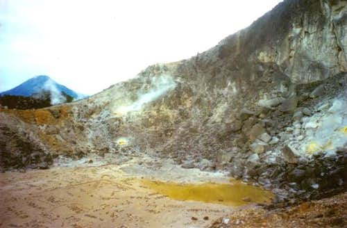 the sulphur gushing out from...