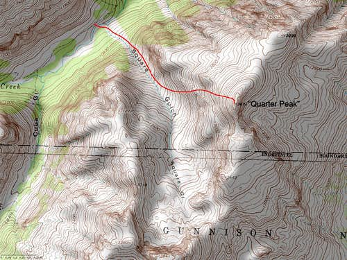 Quarter Peak\'s West Face Route