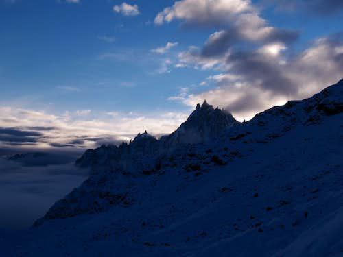 Aiguille du Midi just after sunrise